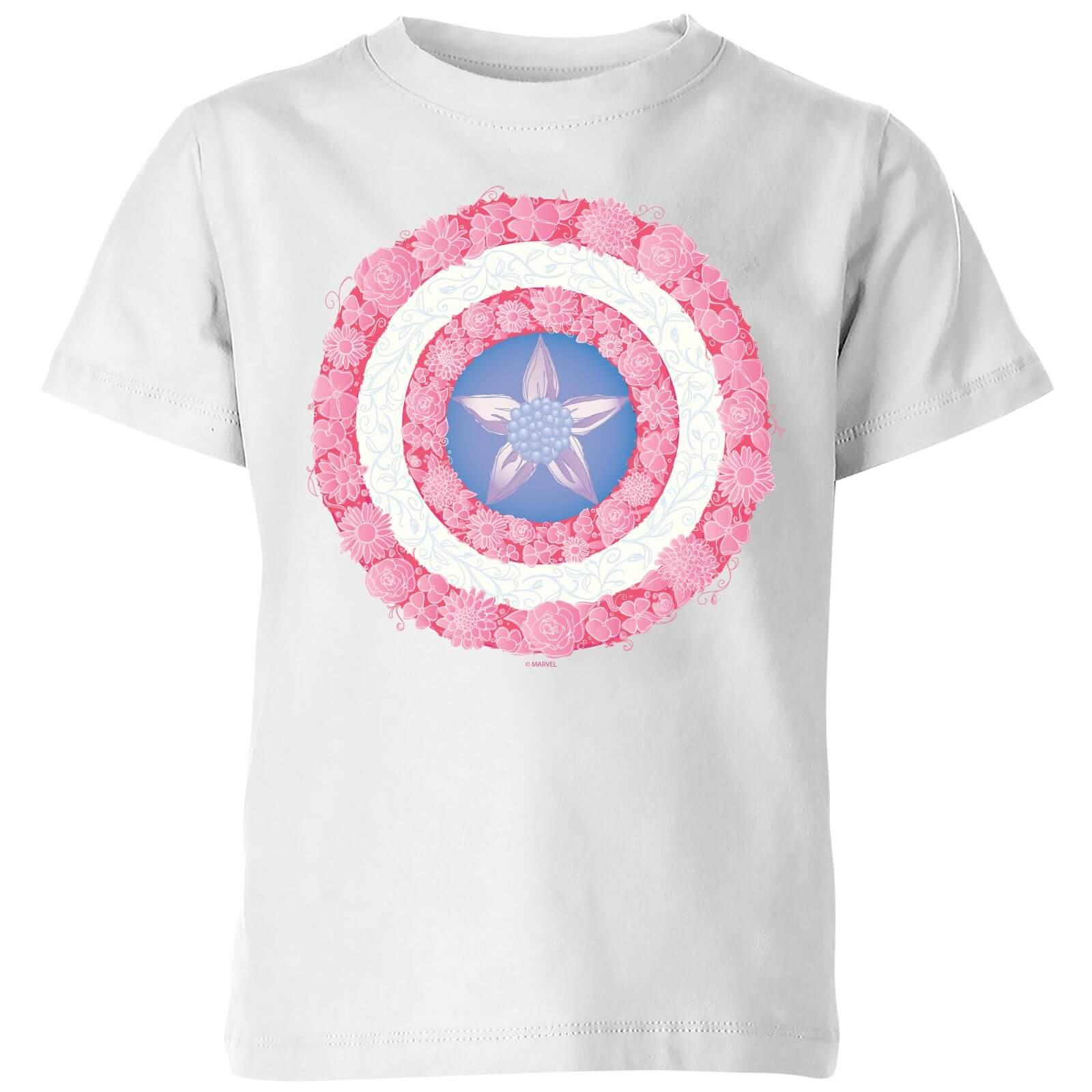 Marvel Captain America Flower Shield Kids' T-Shirt - White - 11-12 Years - White