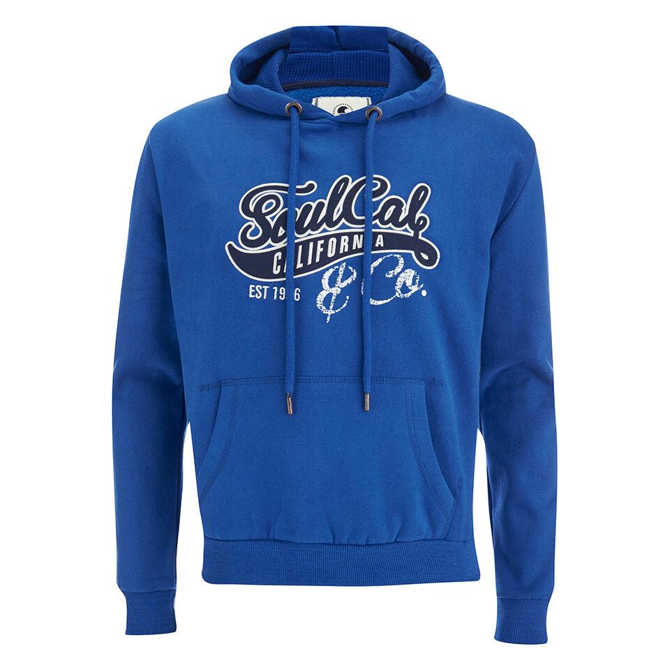 Soul Cal Men's Cracked Print Logo Hoody - Cobalt Blue - S - Blue