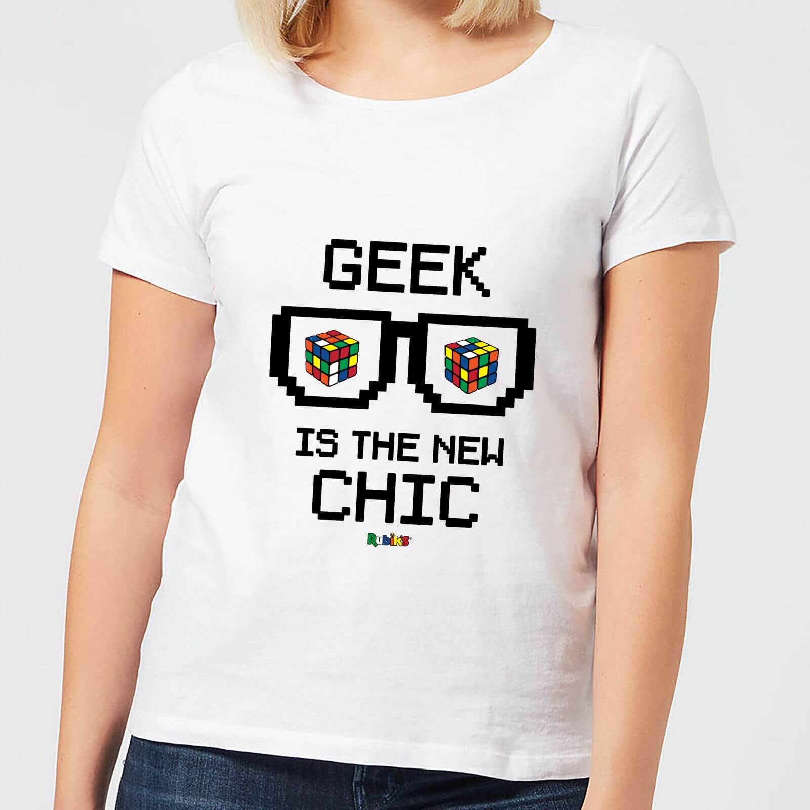 Rubiks Geek Cube Is The New Chic Women's T-Shirt - White - XS - White