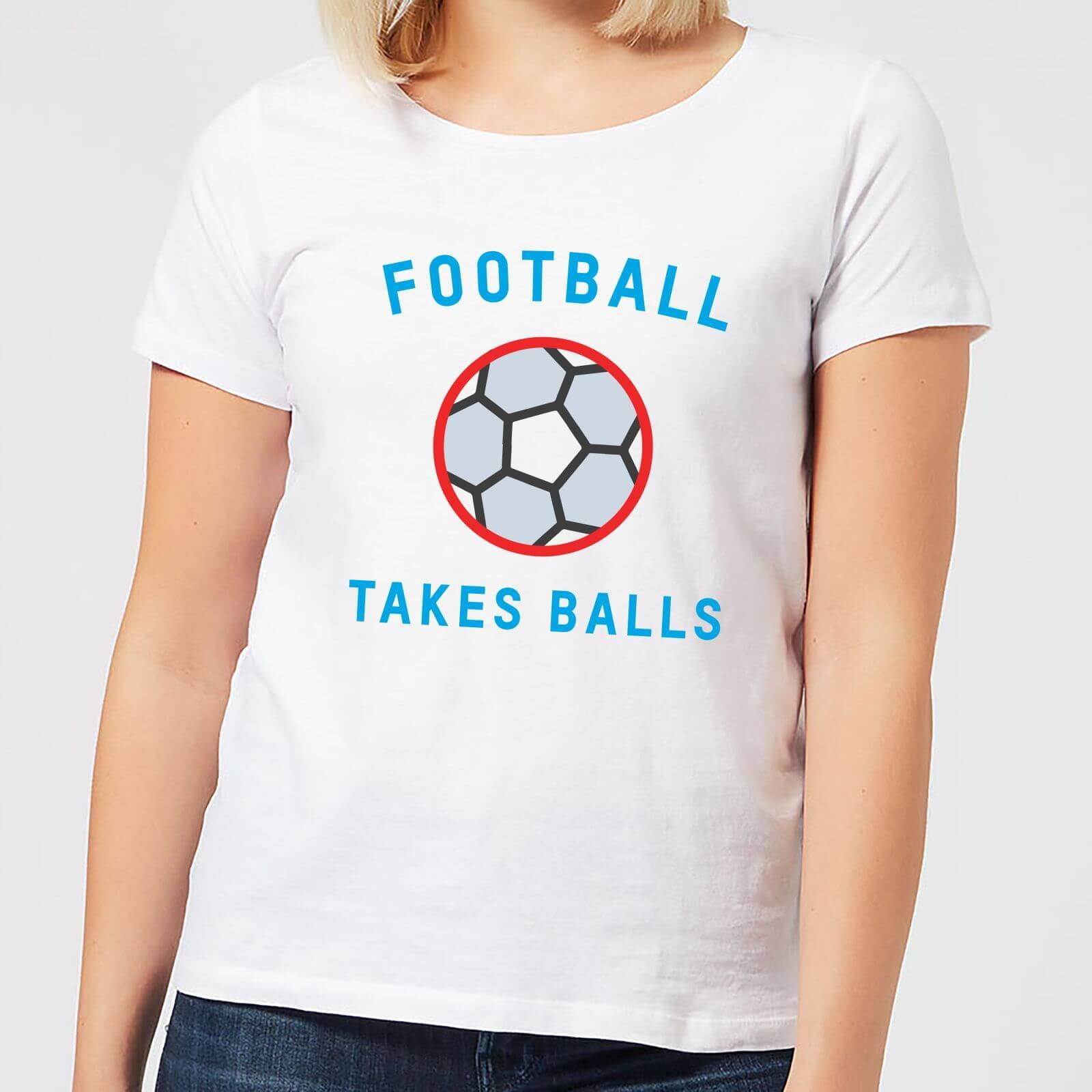 The Dad Collection Football Takes Balls Women's T-Shirt - White - M - White