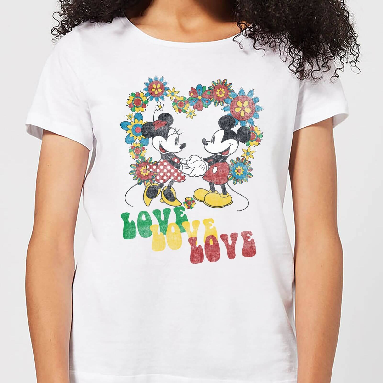 Disney Mickey Mouse Hippie Love Women's T-Shirt - White - L - White