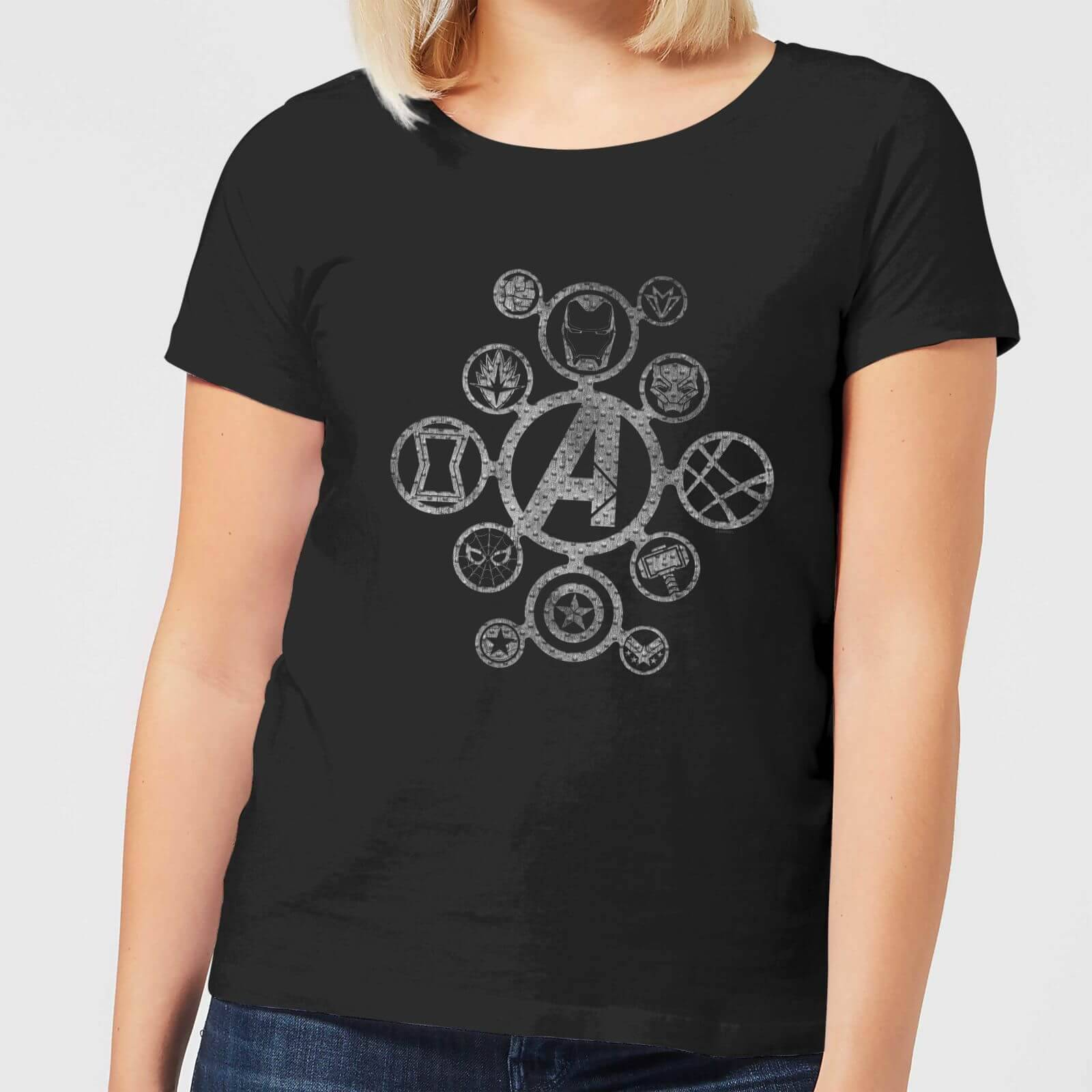 Marvel Avengers Distressed Metal Icon Women's T-Shirt - Black - S - Black