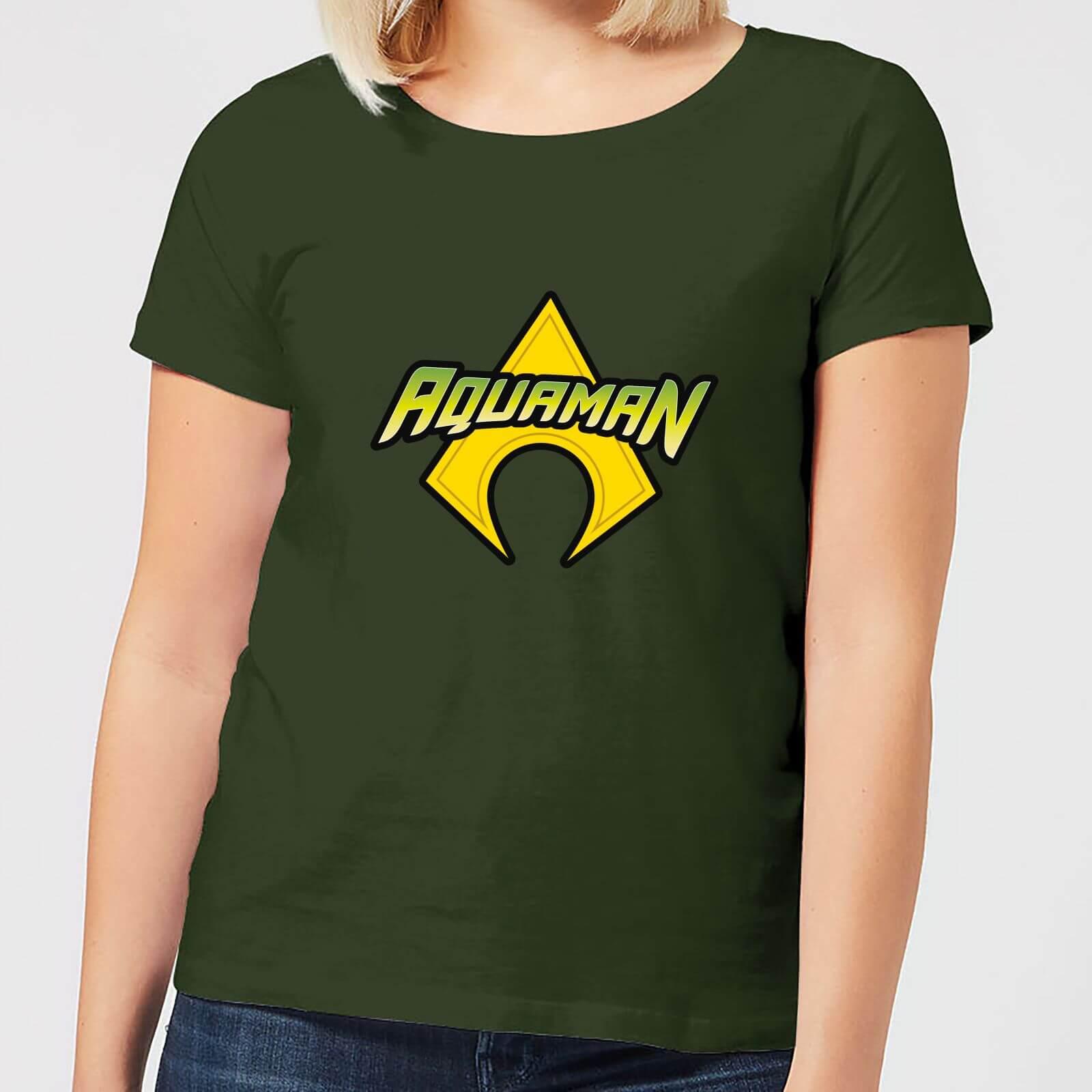 DC Comics Justice League Aquaman Logo Women's T-Shirt - Forest Green - XL - Forest Green