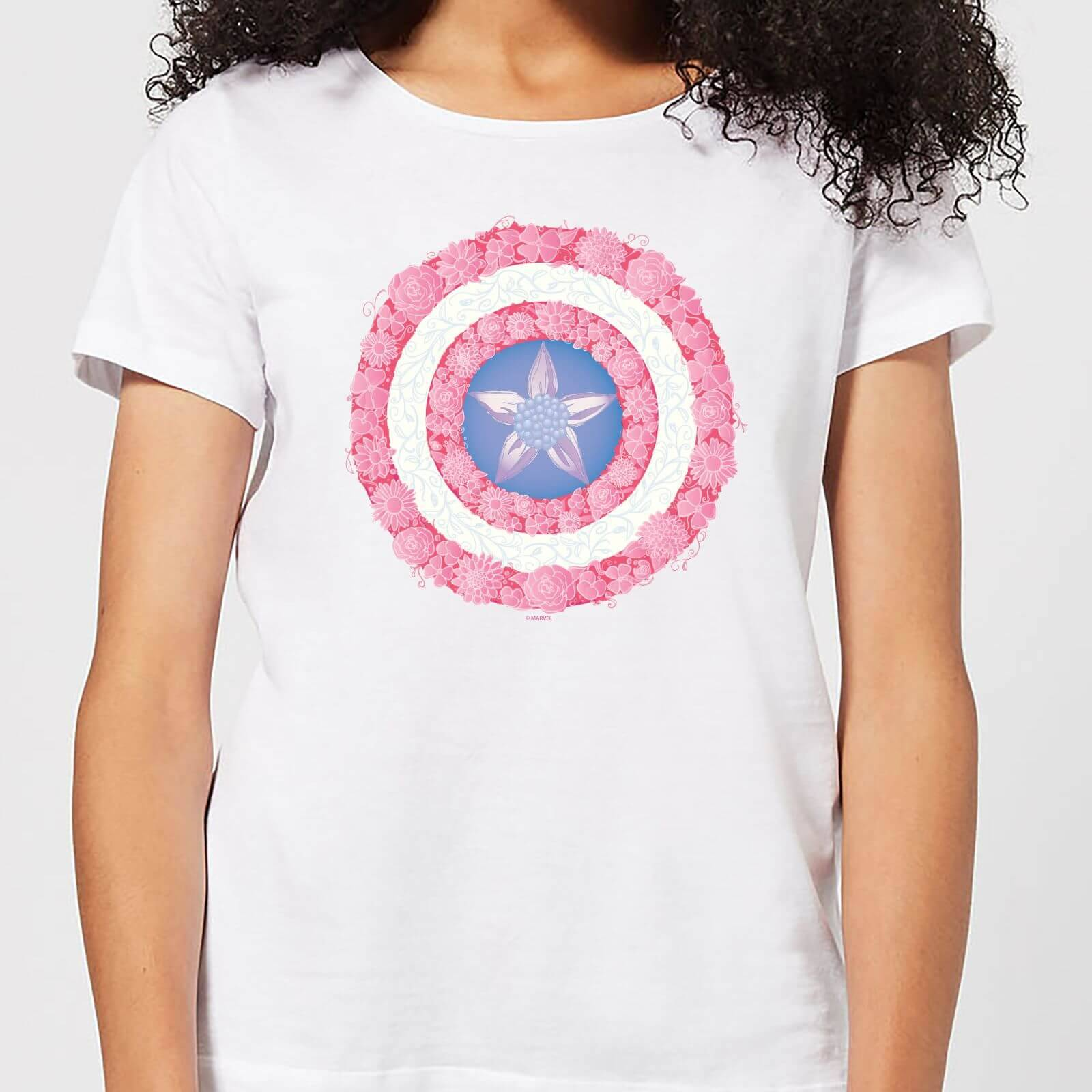 Marvel Captain America Flower Shield Women's T-Shirt - White - L - White