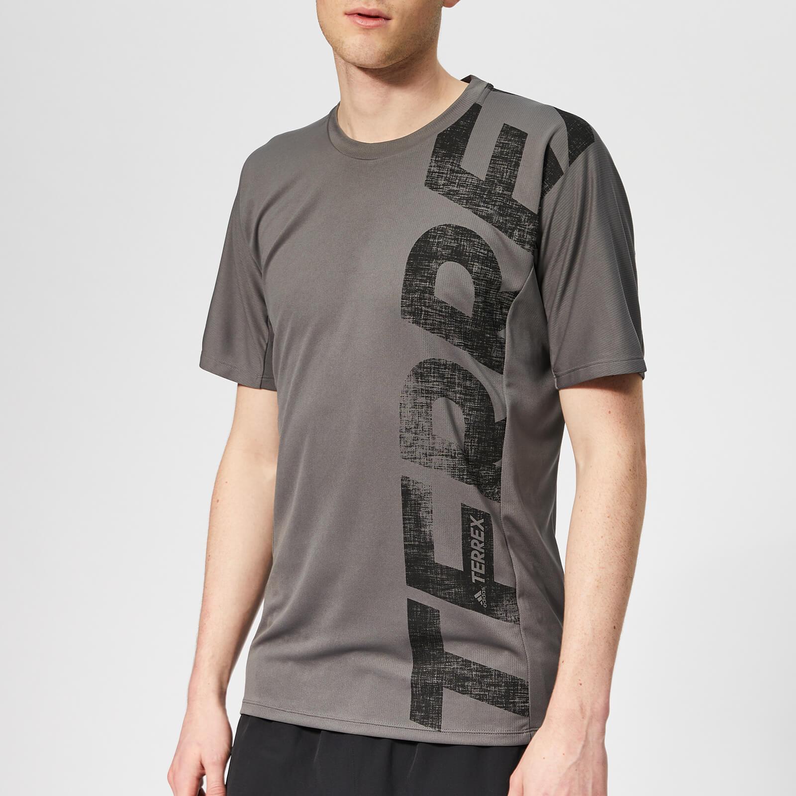 adidas Men's Terrex Trail Cross Short Sleeve T-Shirt - Grey Five - 42/44 Inch (Chest Size) - Grey