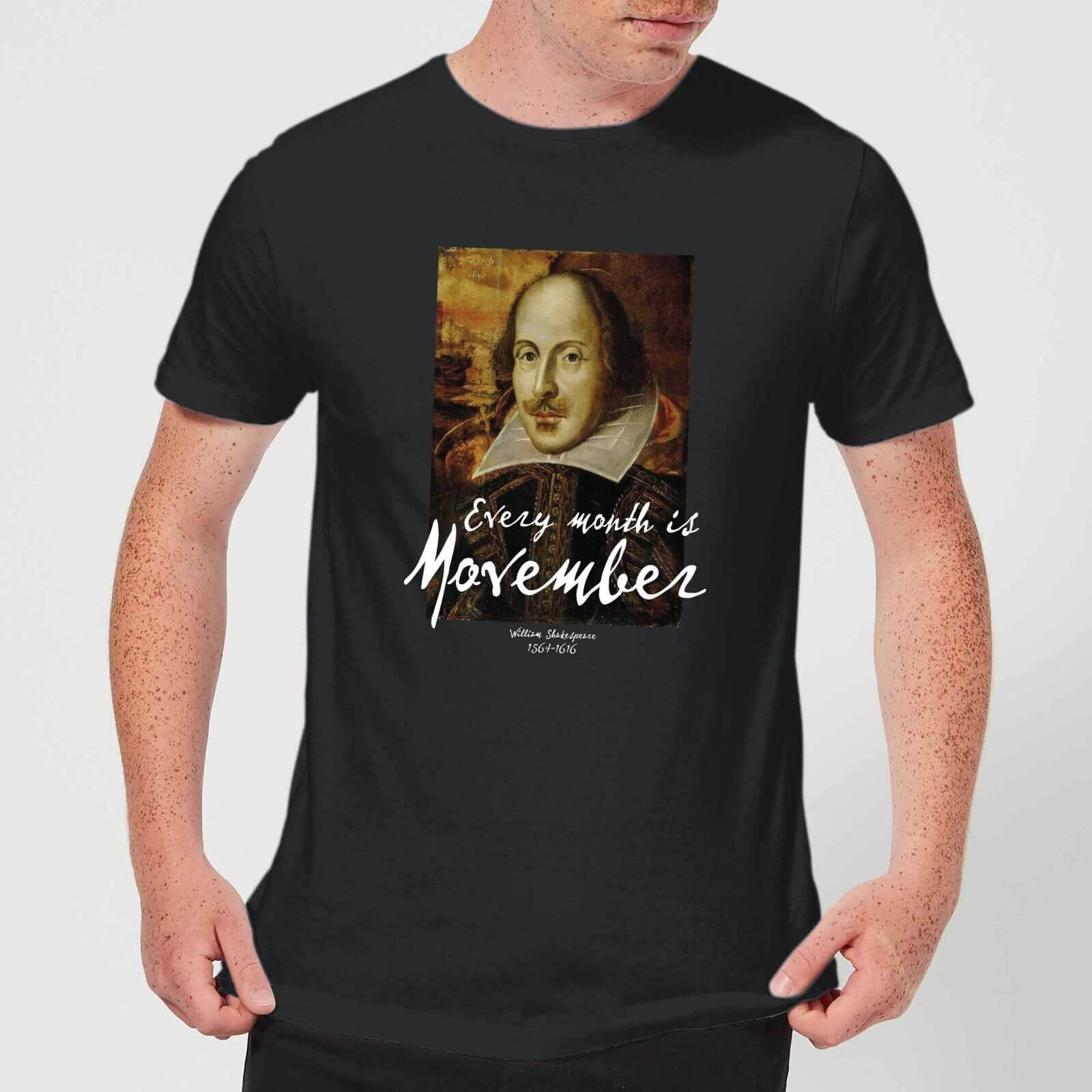 APOH Every Month Is Movember Shakespeare T-Shirt - Black - XS - Black-male