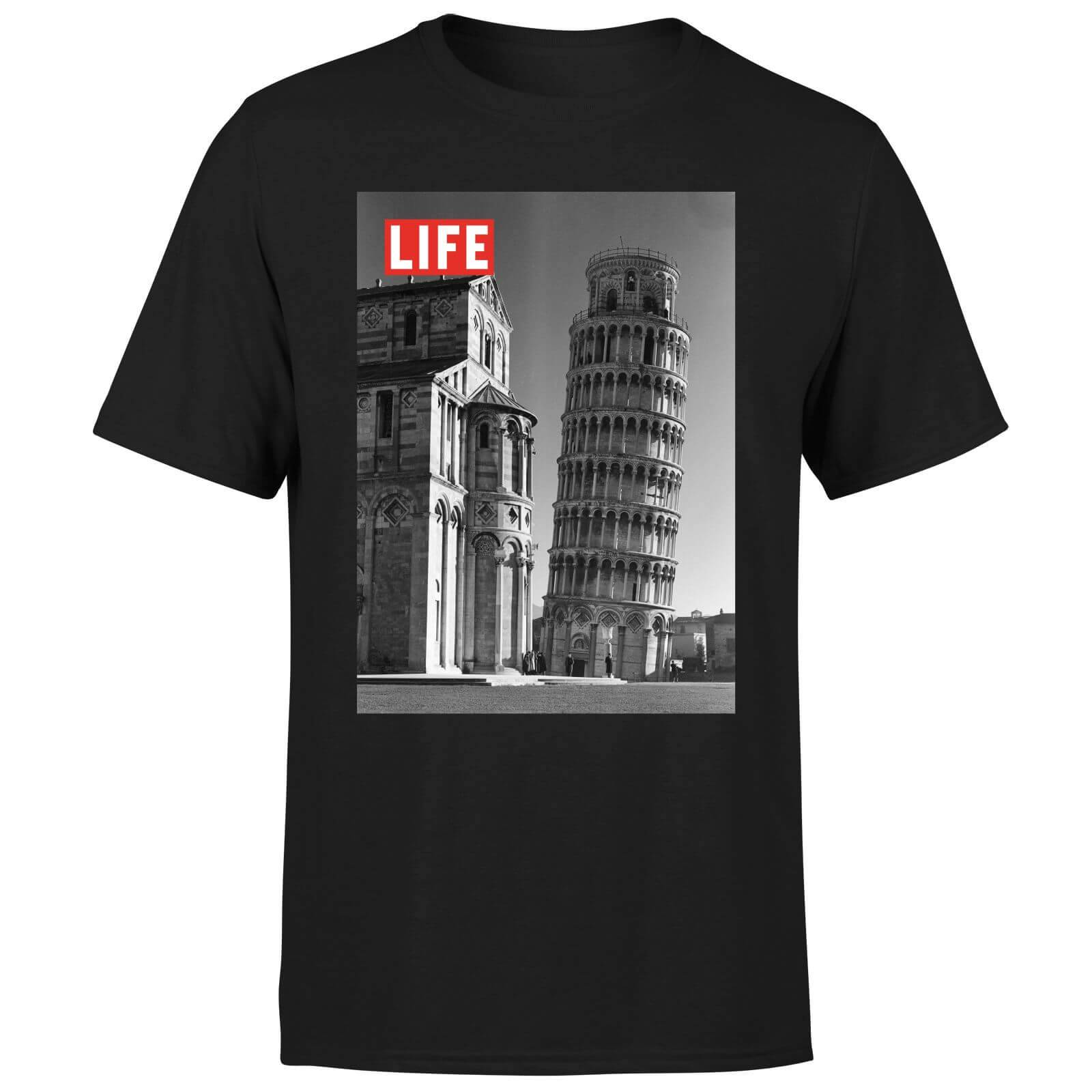 LIFE Magazine Tower Of Pisa Men's T-Shirt - Black - L - Black-male