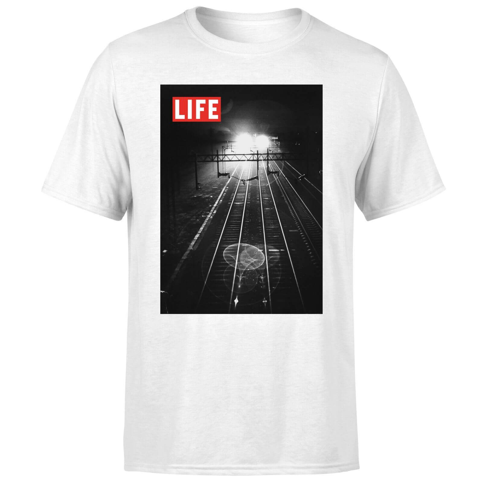 LIFE Magazine Railway Tracks Men's T-Shirt - White - XL - White-male