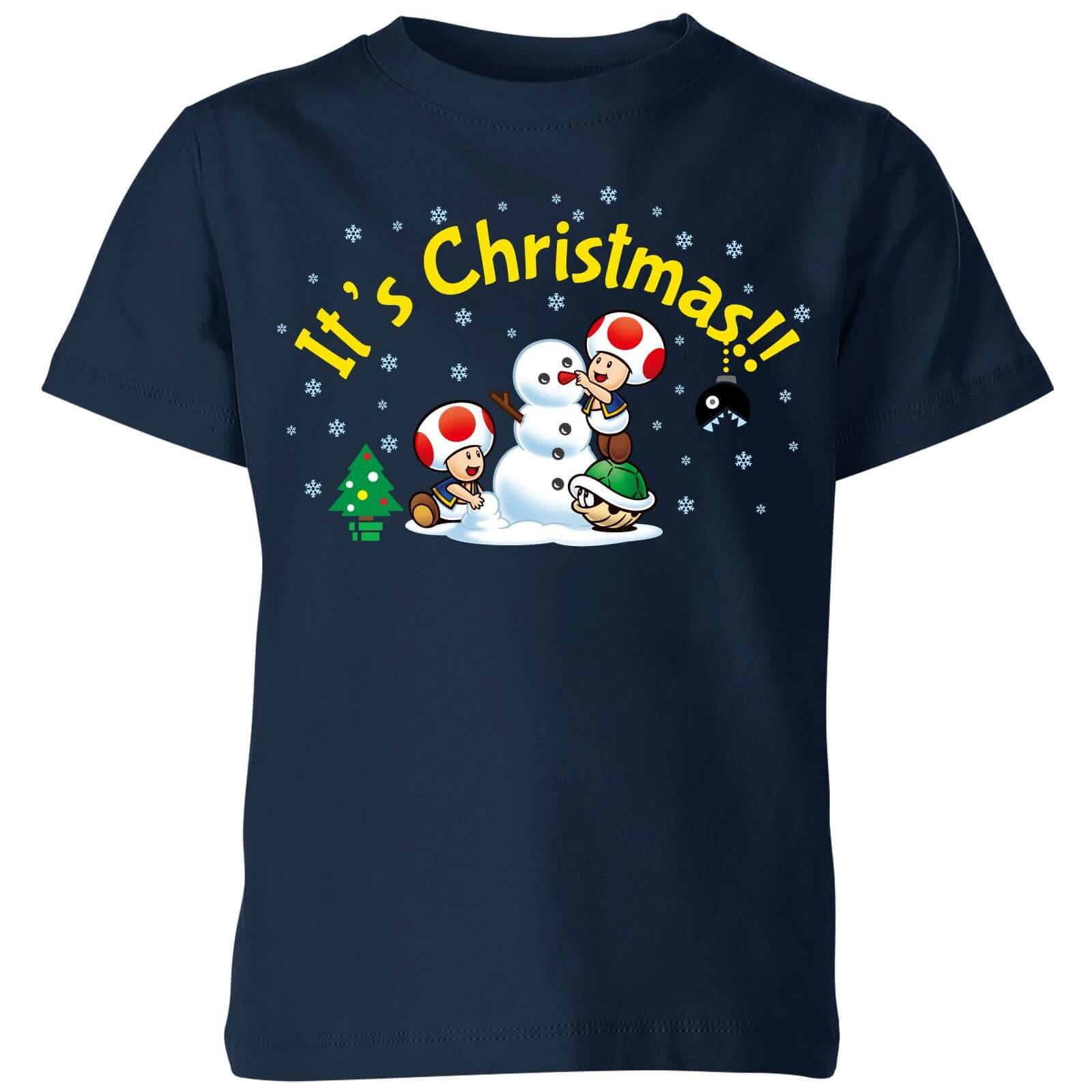 Nintendo Super Mario Toad Snowman Merry Christmas Kid's T-Shirt - Navy - 9-10 Years - Navy-unisex