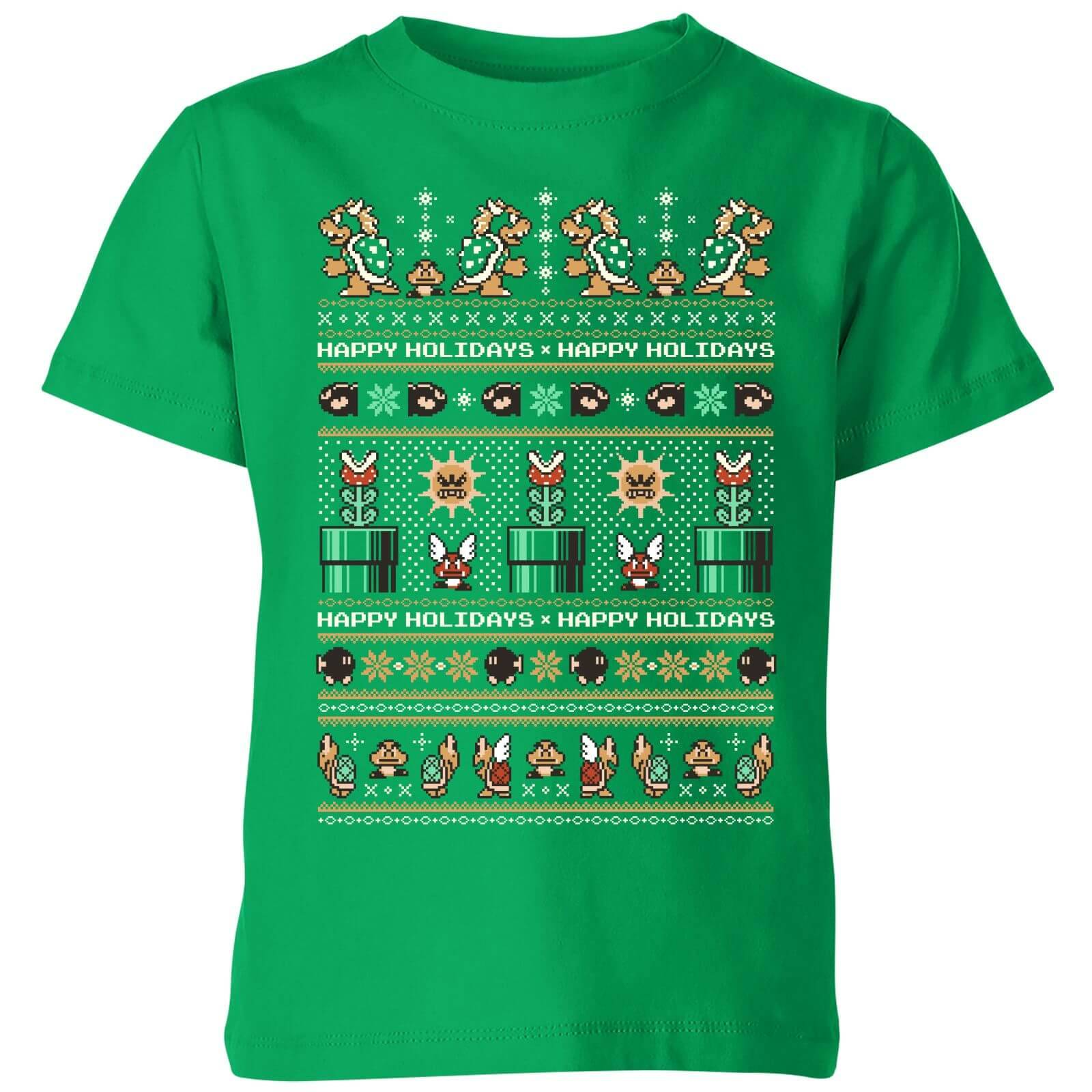 Nintendo Super Mario Happy Holidays The Bad Guys Kid's Christmas T-Shirt - Kelly Green - 7-8 Years - Kelly Green-unisex