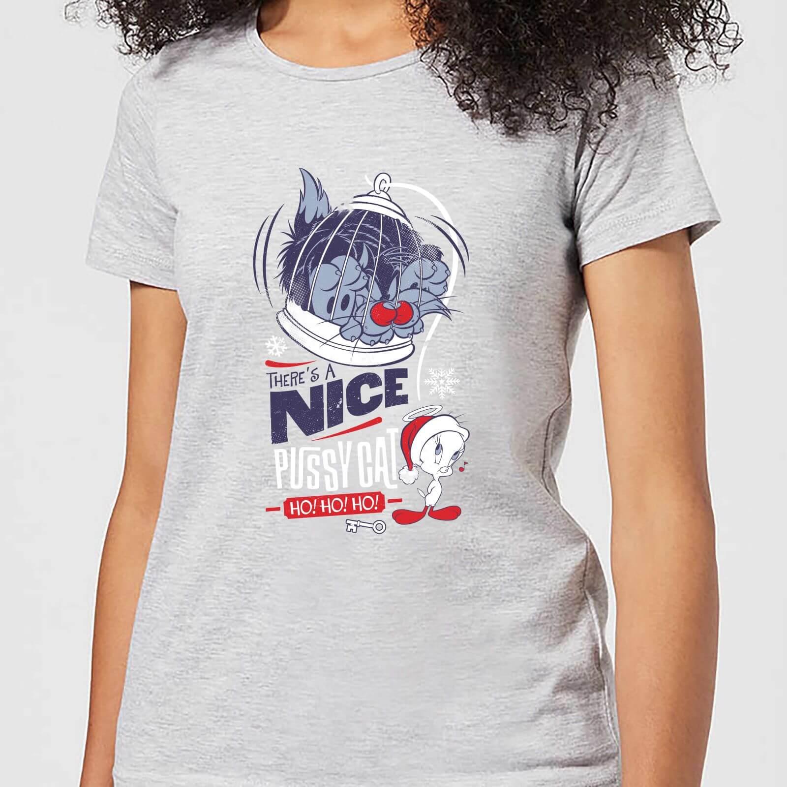 Looney Tunes Tweety Pie Pussy Cat Women's Christmas T-Shirt - Grey - 5XL - Grey