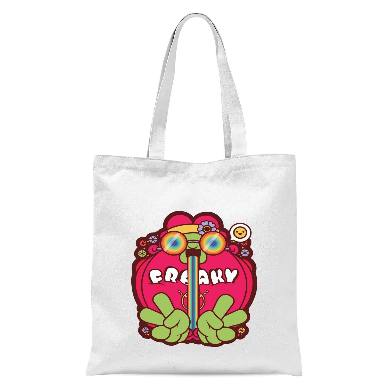 IWOOT Hippie Psychedelic Cartoon Tote Bag - White