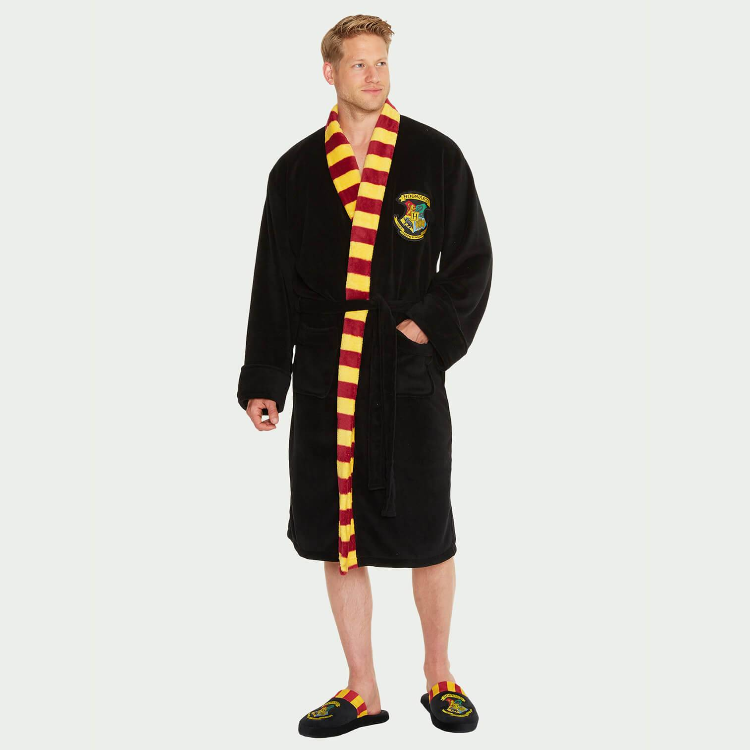 Harry Potter Hogwarts Black Fleece Robe with Scarf - Mens-male