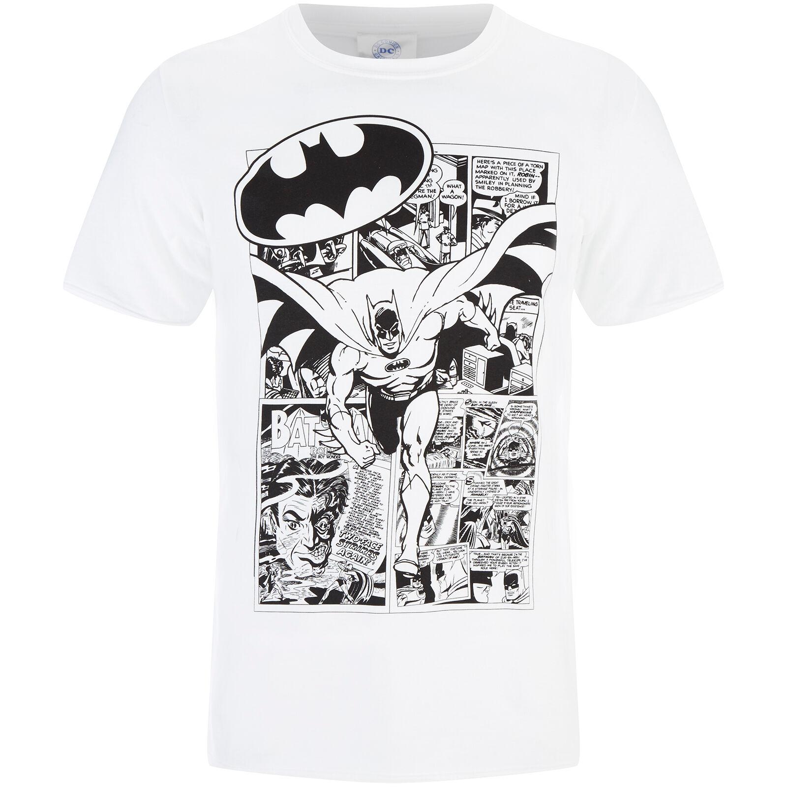 Geek Clothing DC Comics Men's Batman Comic Strip T-Shirt - White - M - White