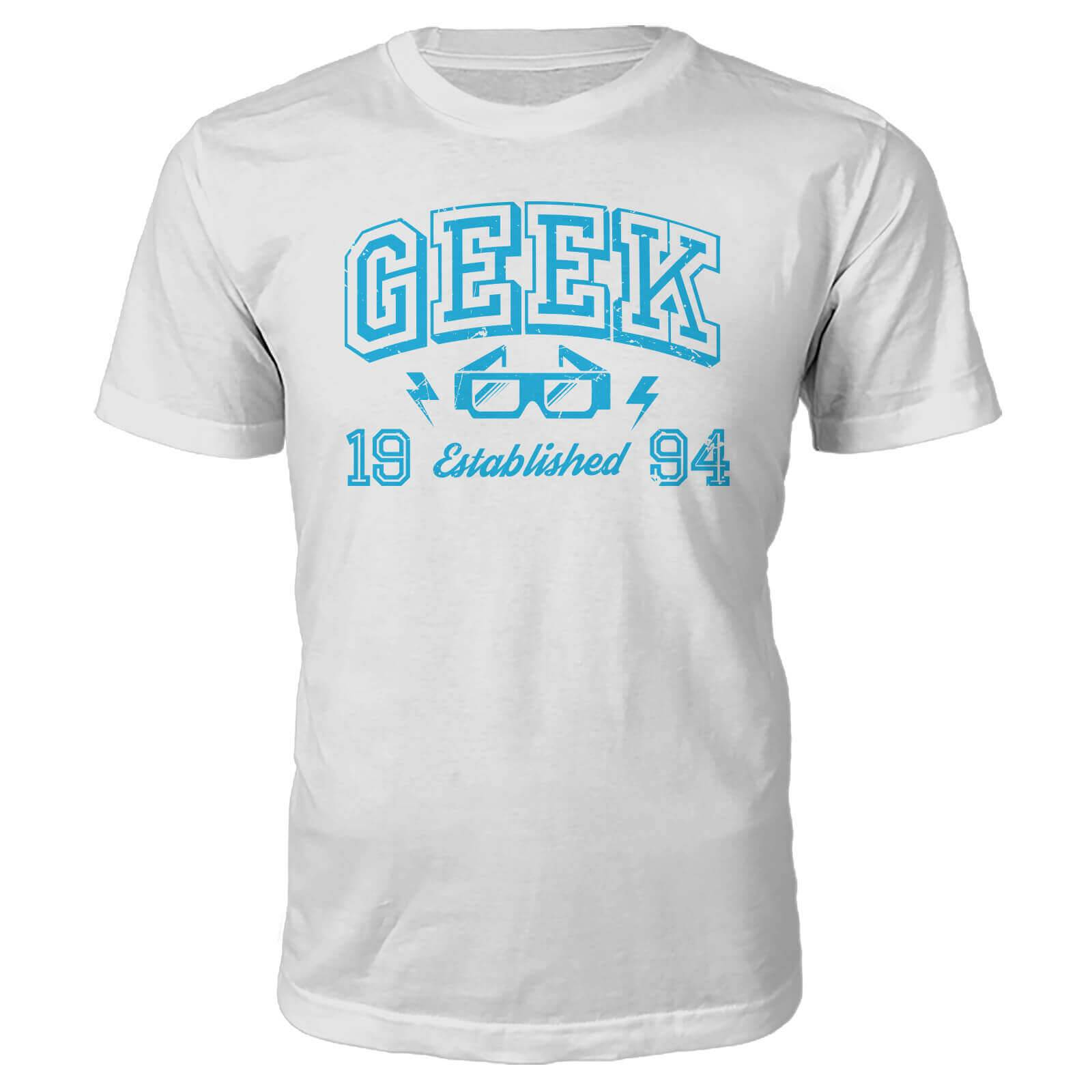 The Geek Collection Geek Established 1990's T-Shirt- White - XL - 1994