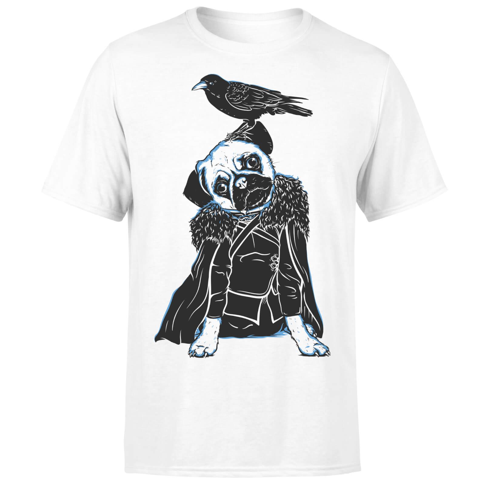 T-Junkie Pug In The Snow Men's White T-Shirt - L - White