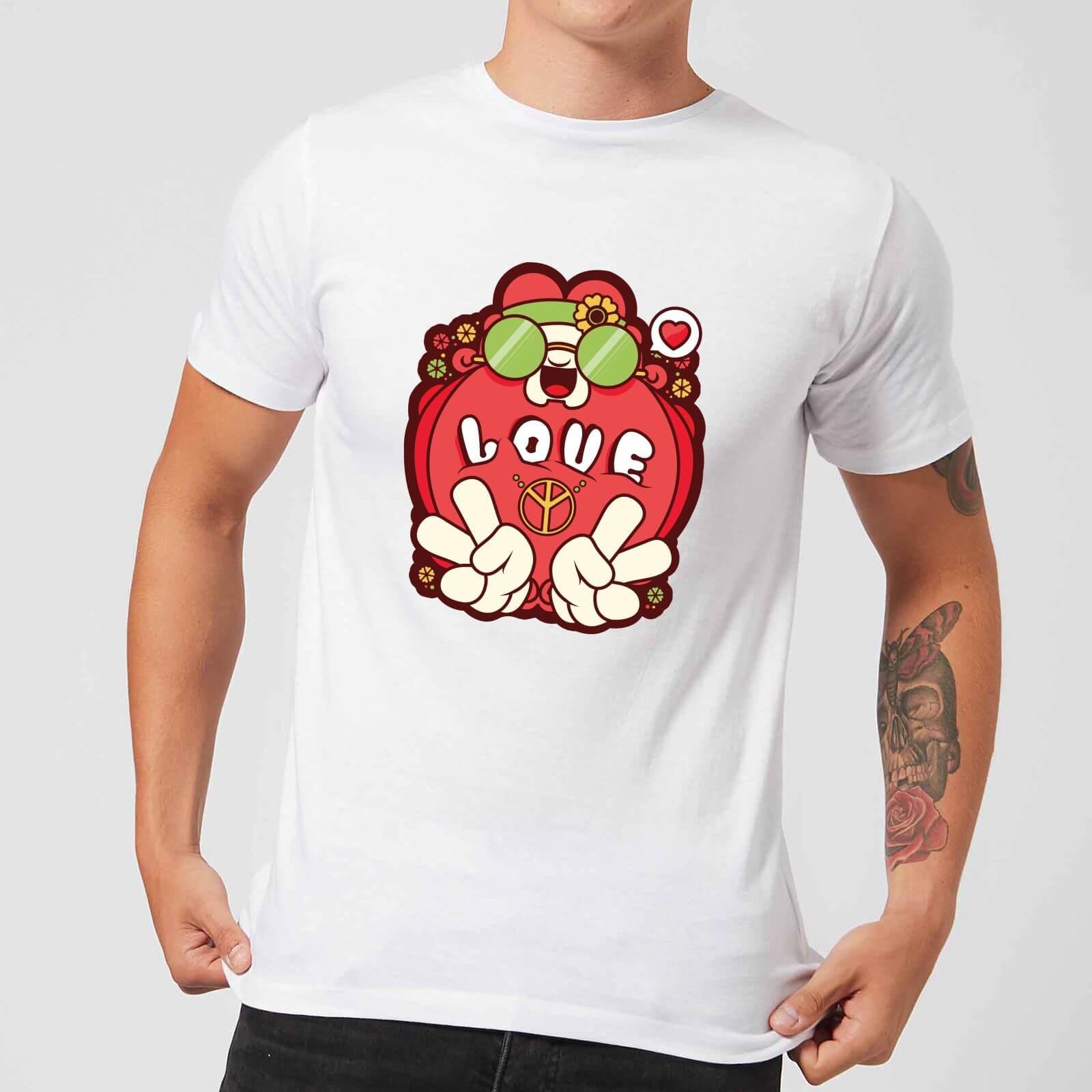 IWOOT Hippie Love Cartoon Men's T-Shirt - White - S - White-male