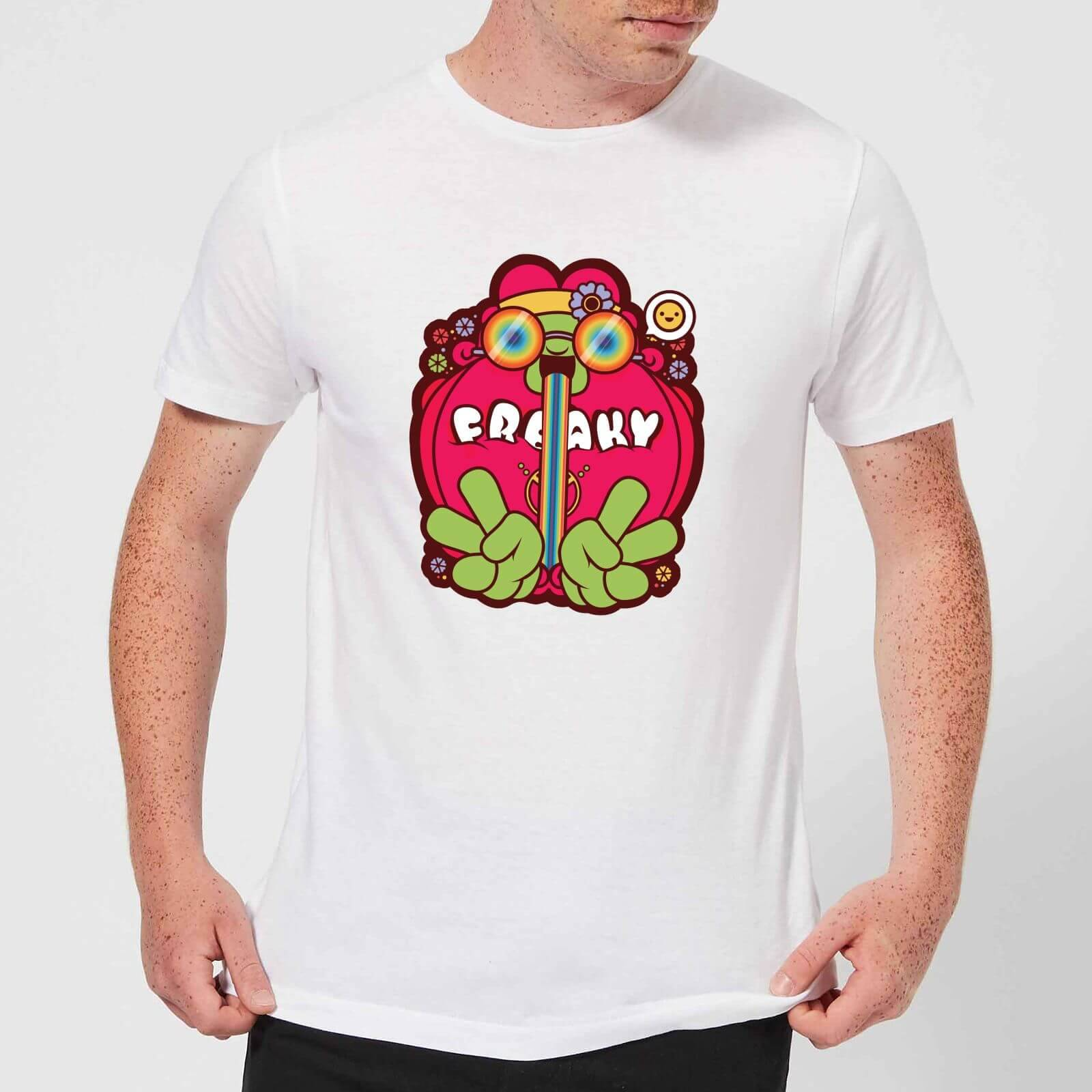 IWOOT Hippie Psychedelic Cartoon Men's T-Shirt - White - S - White-male
