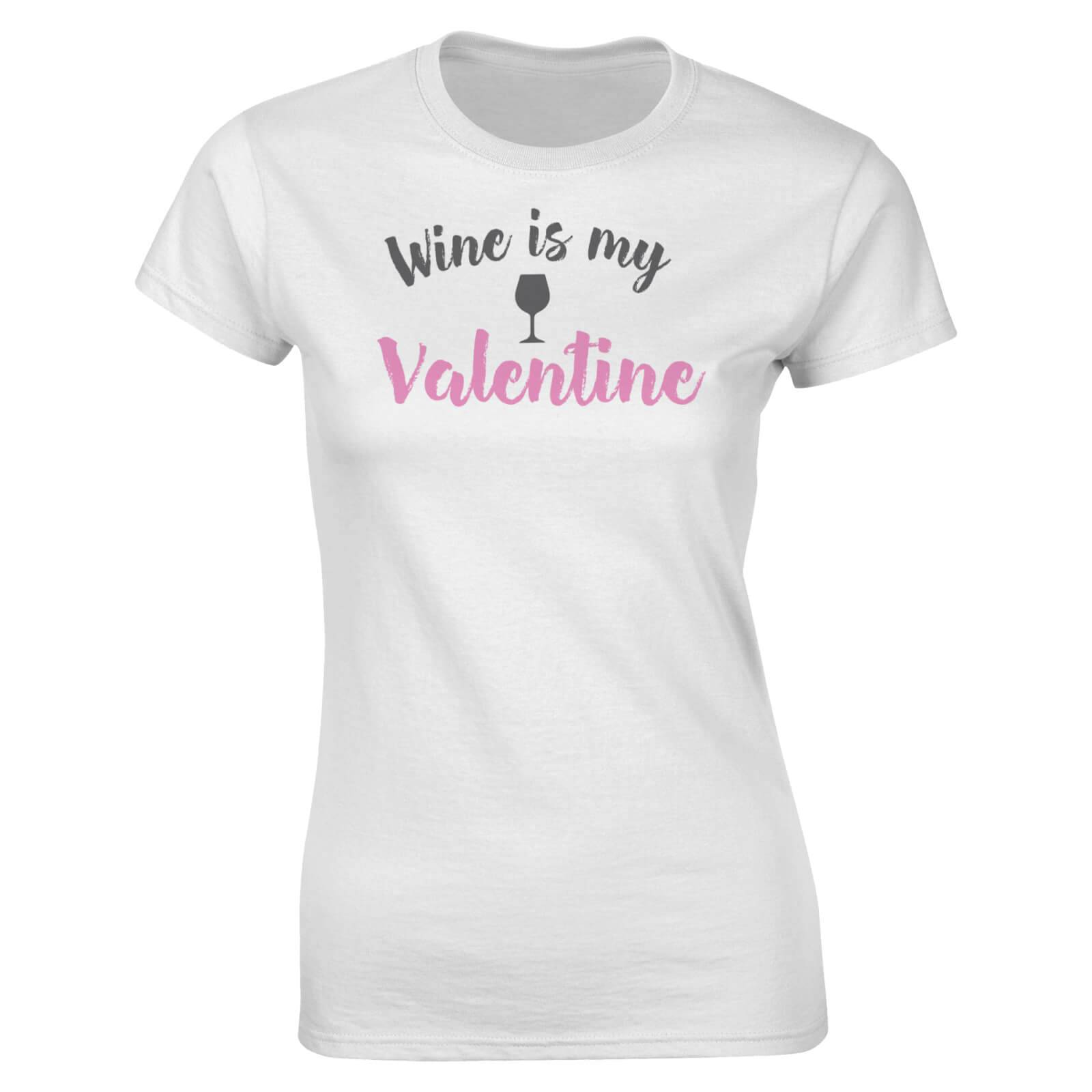 The Valentines Collection Wine Is My Valentine Women's T-Shirt - White - XL - White
