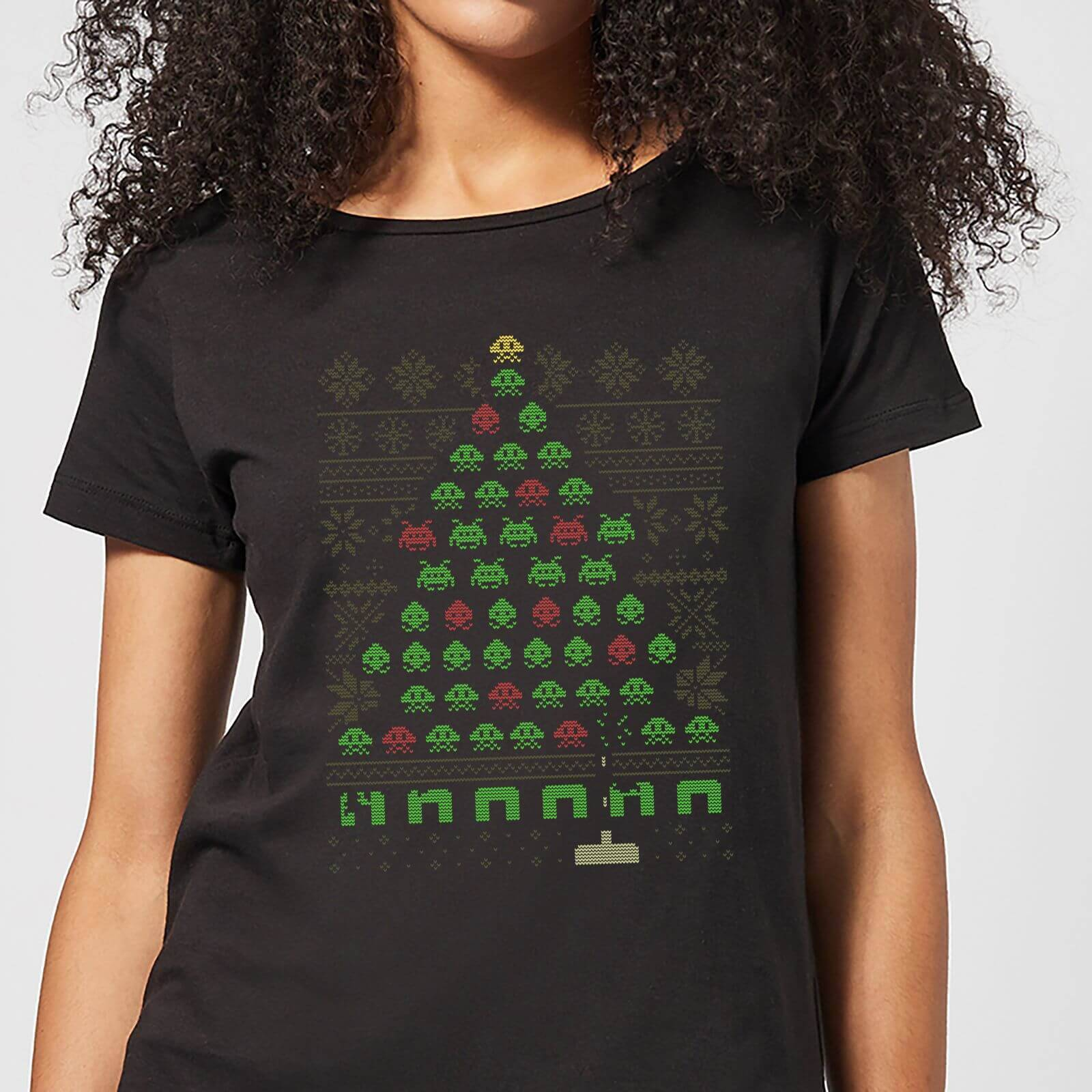 Geek Christmas Invaders From Space Women's T-Shirt - Black - L - Black