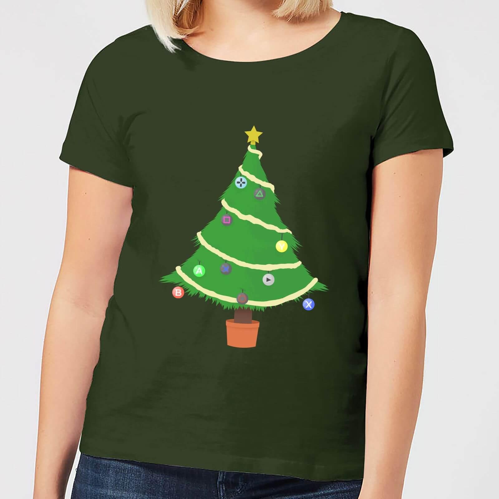 Geek Christmas Buttons Tree Women's T-Shirt - Forest Green - L - Forest Green