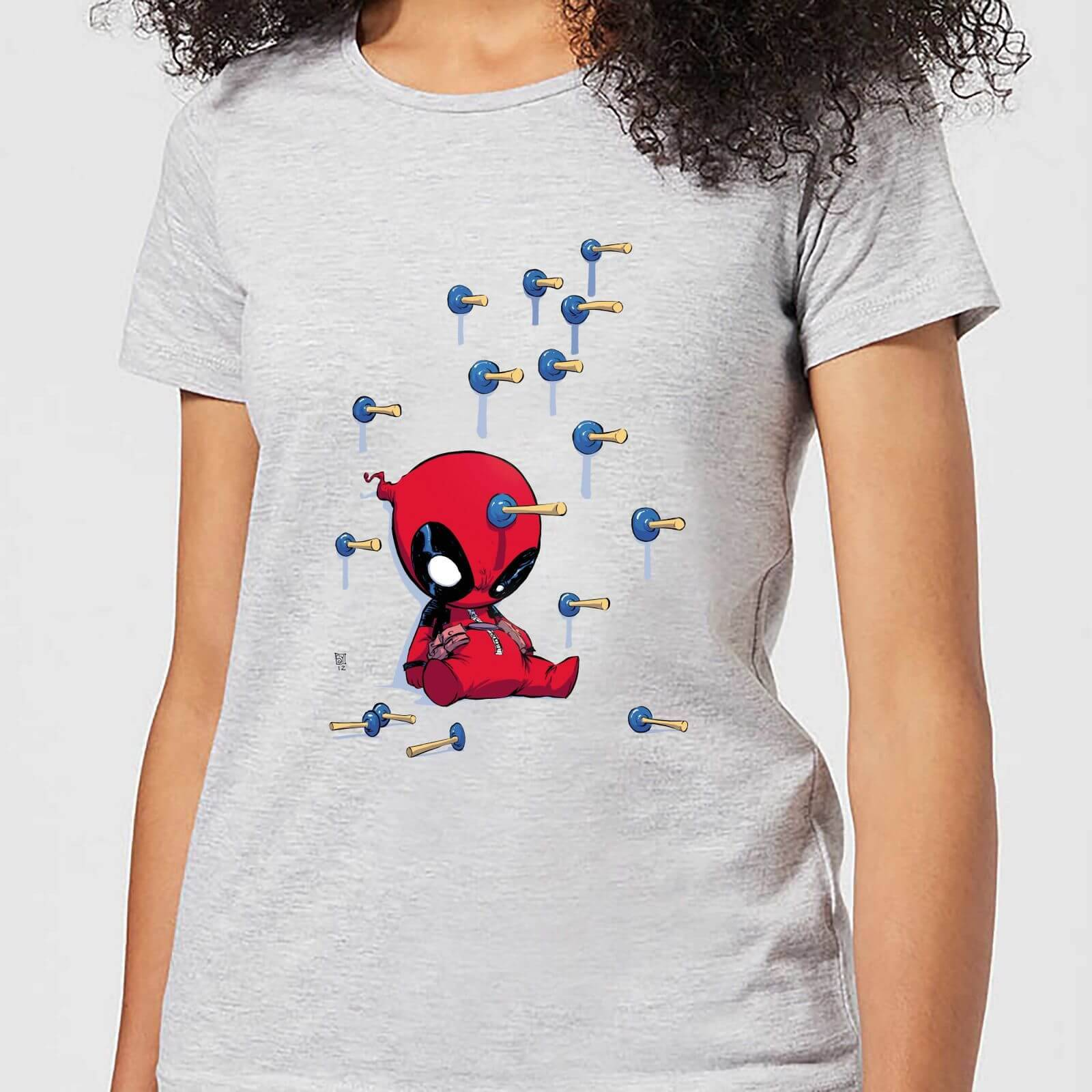Marvel Deadpool Cartoon Knockout Women's T-Shirt - Grey - L - Grey