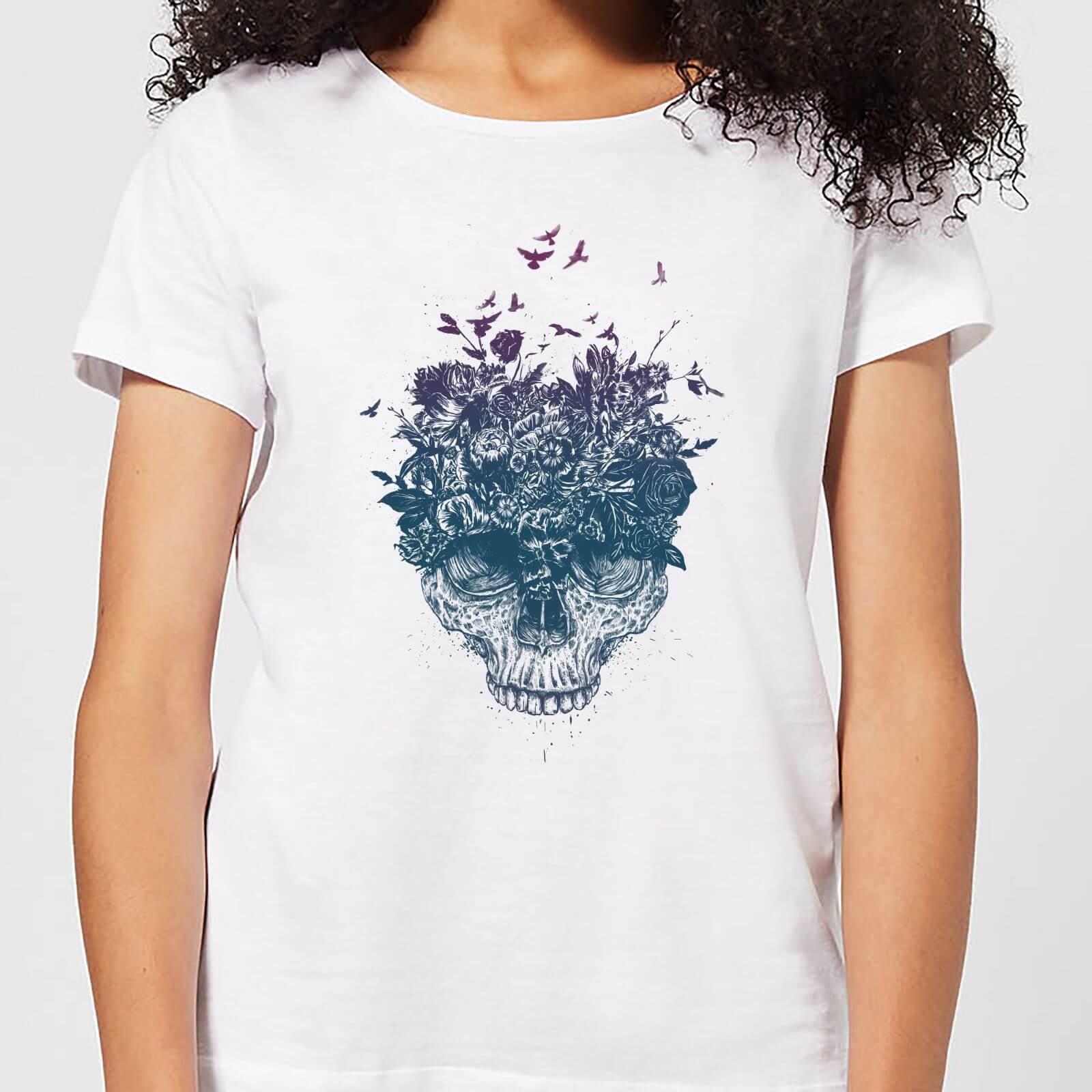 Balazs Solti Skulls And Flowers Women's T-Shirt - White - L - White