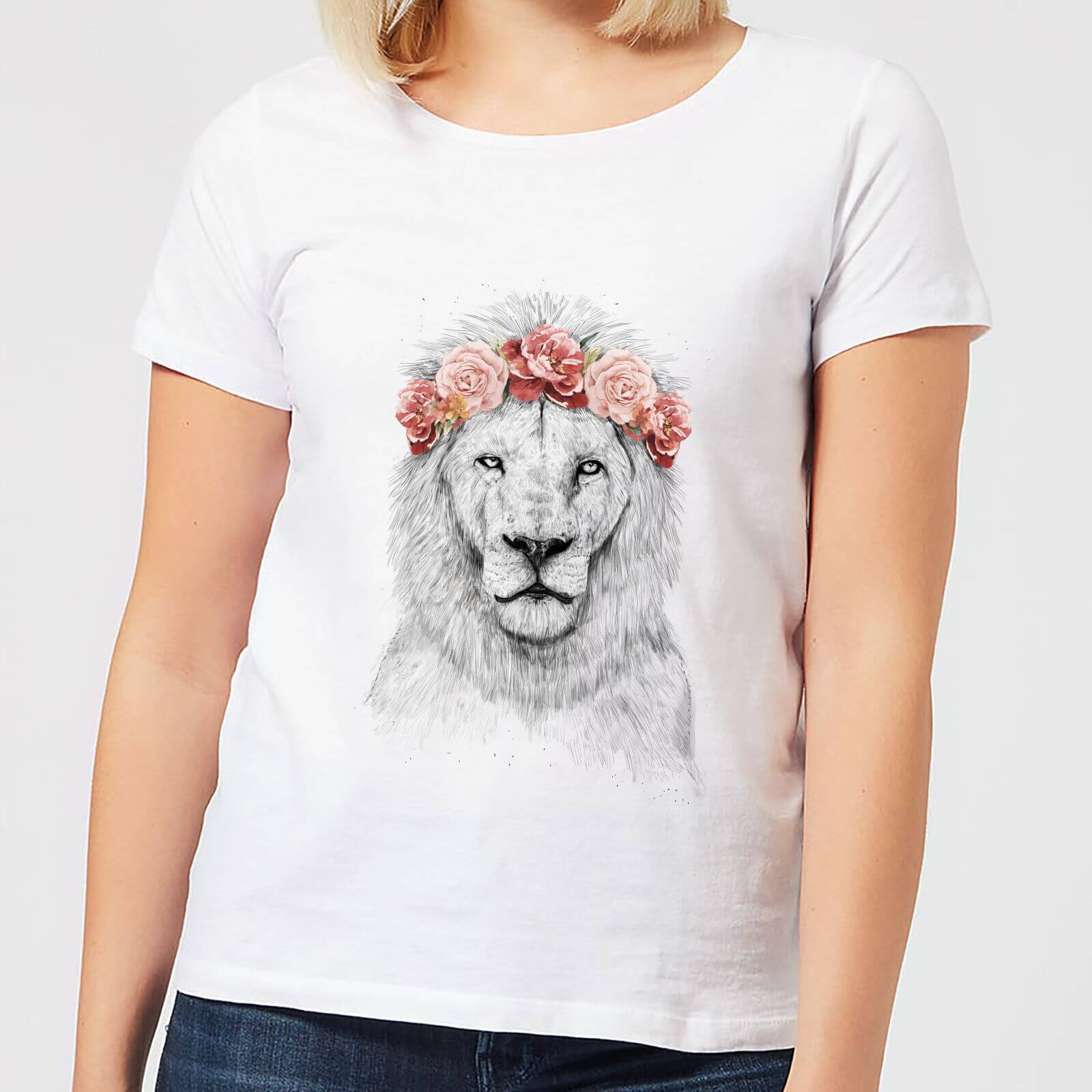 Balazs Solti Lion And Flowers Women's T-Shirt - White - S - White