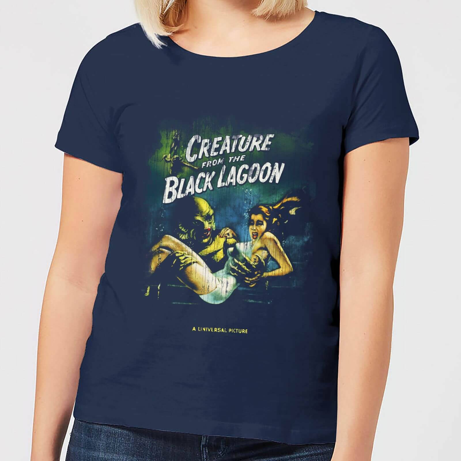 Universal Monsters Creature From The Black Lagoon Vintage Poster Women's T-Shirt - Navy - XL - Navy