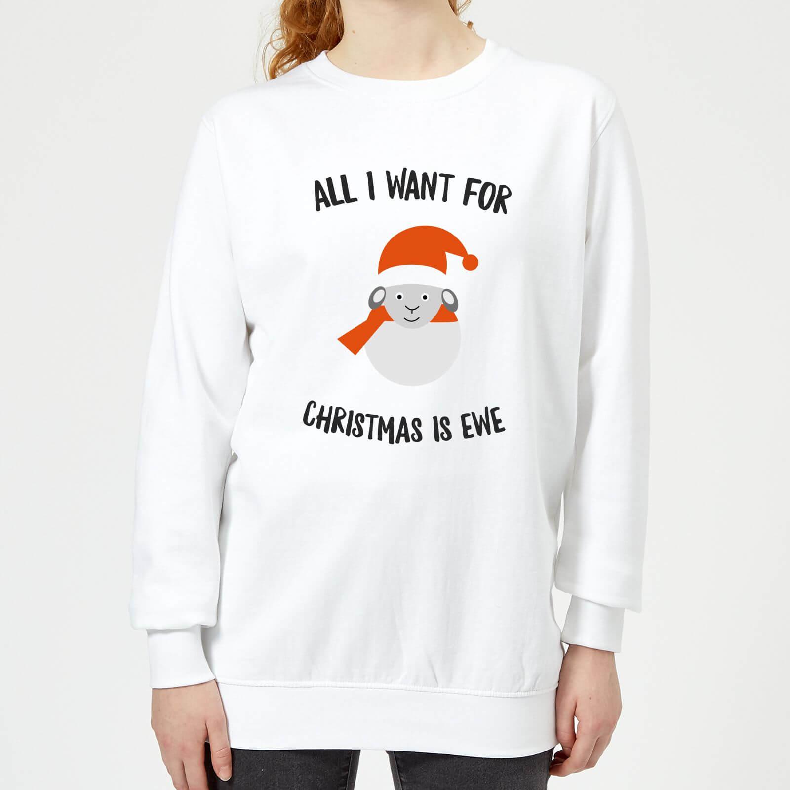 Christmas All I Want for Christmas Is Ewe Women's Christmas Sweatshirt - White - L - White-female
