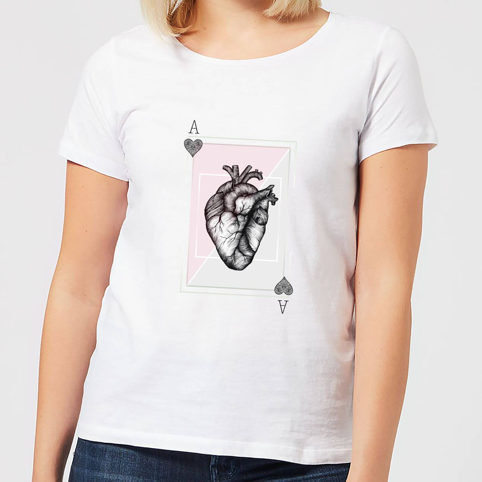 Barlena Ace Of Hearts Women's T-Shirt - White - XS - White