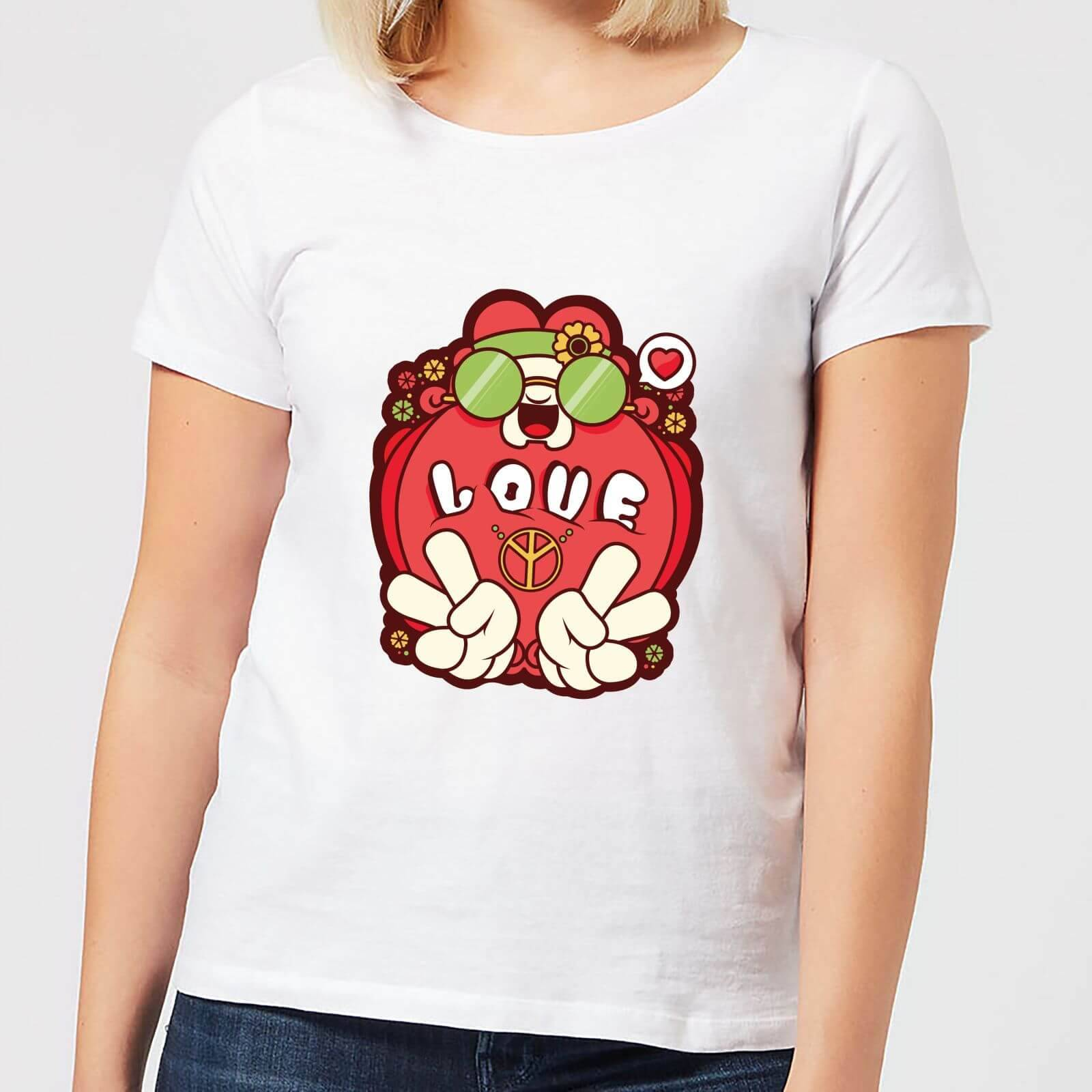 IWOOT Hippie Love Cartoon Women's T-Shirt - White - S - White