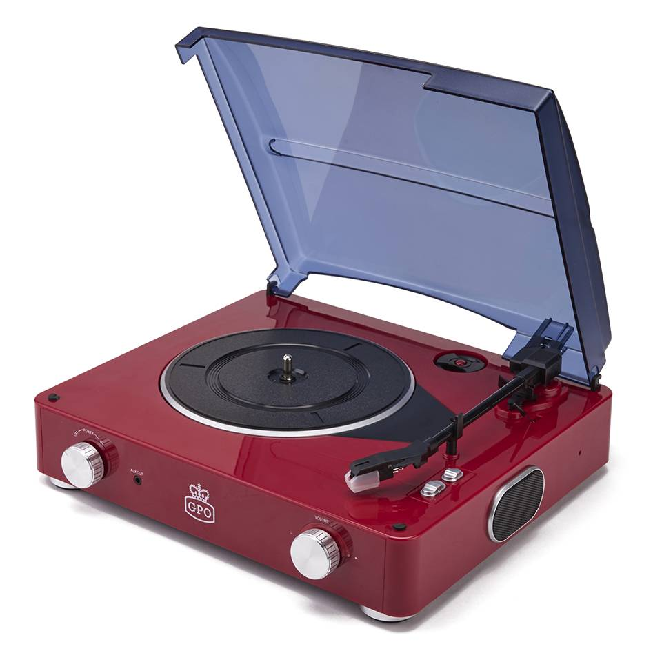 GPO Retro Stylo Turntable (3 Speed) with Built-In Speakers - Red-