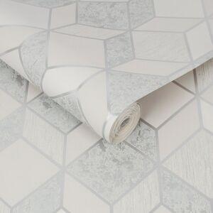 Superfresco Vittorio Grey/Silver Geometric Wallpaper-