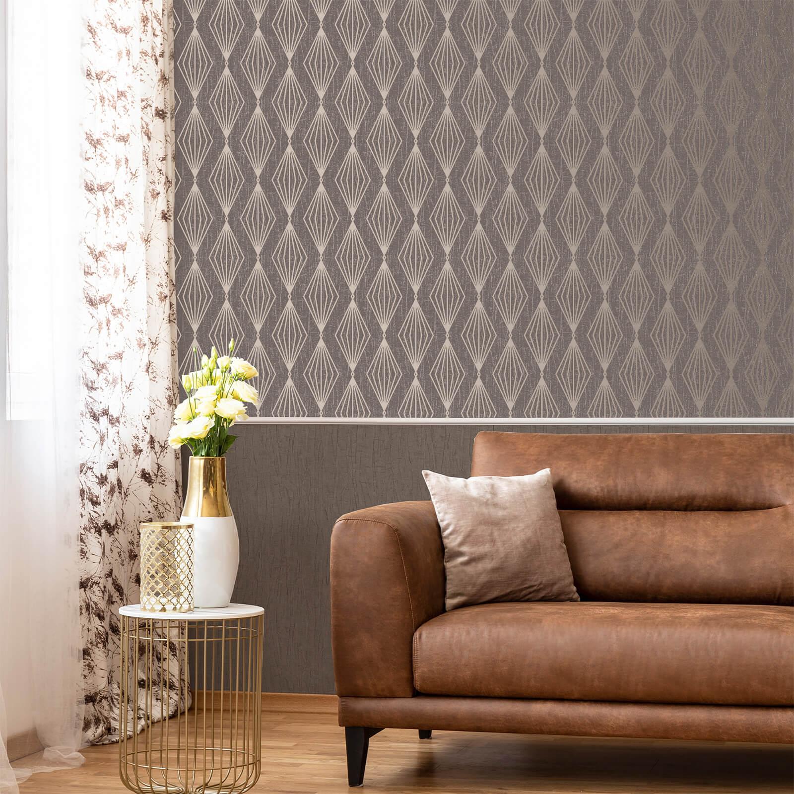 Boutique Smokey Quartz Marquise Geometric Wallpaper-