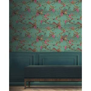 Ted Baker Hibiscus Wallpaper  - Teal - Size: One Size