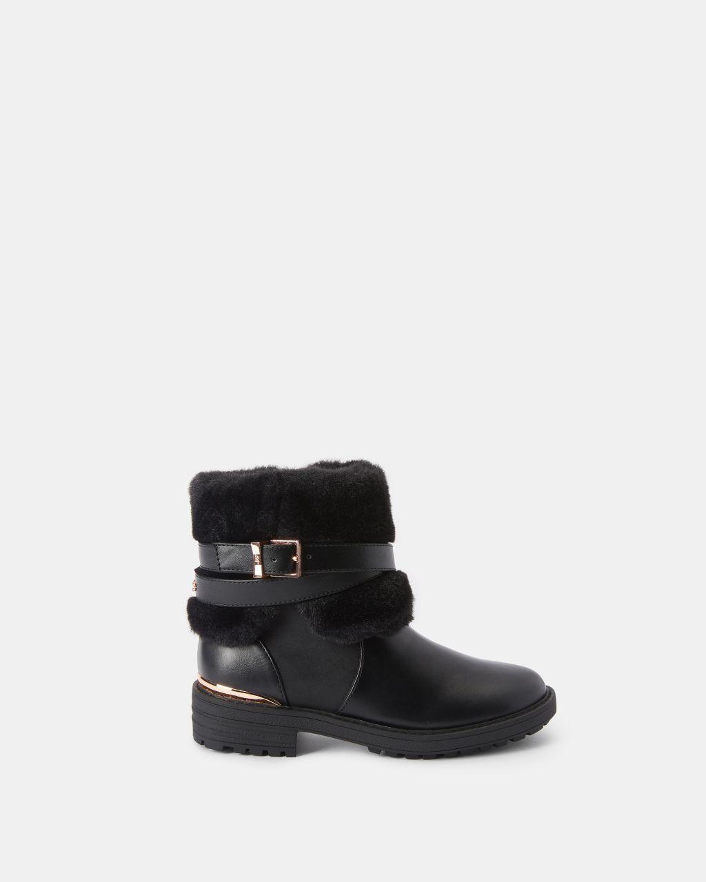 Ted Baker Faux Fur Trim Buckle Boots  - Black - Size: 11 OLDER