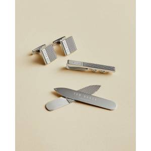 Ted Baker Cufflinks, Tie Bar And Collar Stiffener Set  - Silver Colour - Size: Small