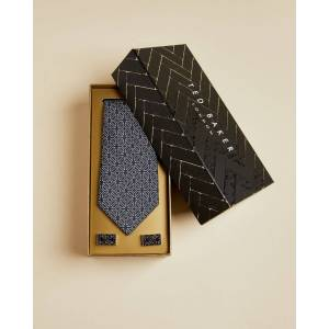 Ted Baker Cufflink And Silk Tie Set  - Navy - Size: One Size
