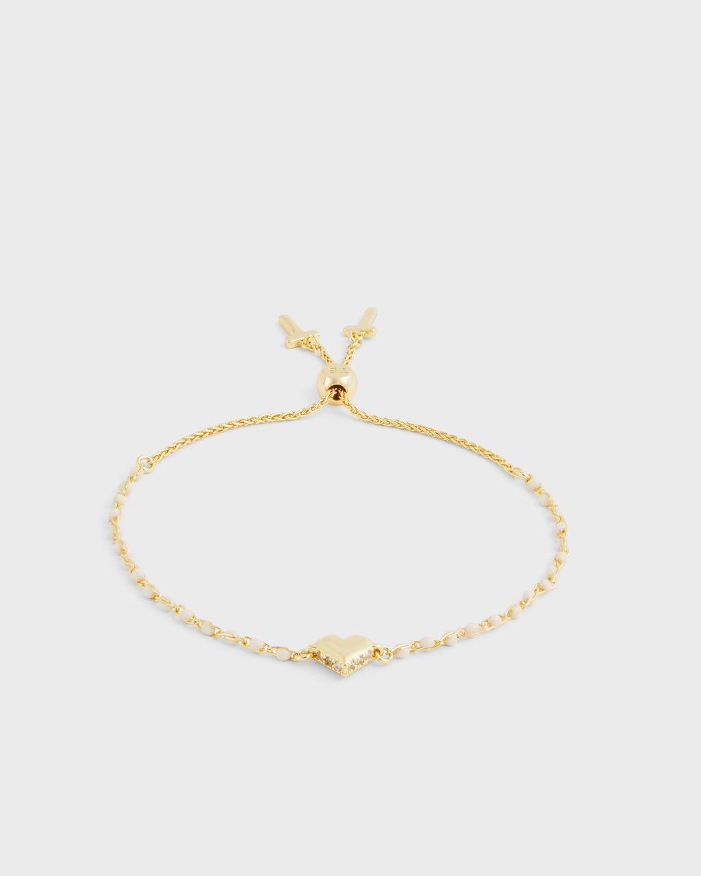 Ted Baker Tbj2730 Sparkle Heart Enamel Chain Bracelet  - Gold - Size: One Size