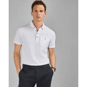 Ted Baker Textured Polo Shirt  - White - Size: Medium