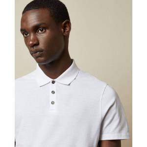 Ted Baker Ribbed Polo Top  - White - Size: Medium