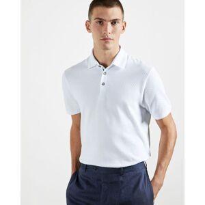 Ted Baker Textured Cotton Polo  - White - Size: Medium