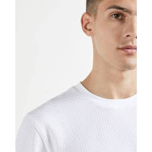 Ted Baker Textured Cotton T-shirt  - White - Size: Medium