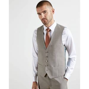 Ted Baker Plain Wool Waistcoat  - Taupe - Size: 40 R