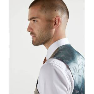 Ted Baker Plain Wool Waistcoat  - Taupe - Size: 42 R