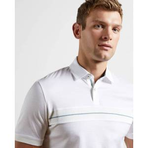 Ted Baker Cotton Panelled Polo Top  - White - Size: Medium
