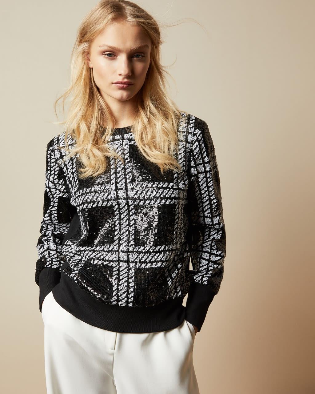 Ted Baker Check Sequin Sweatshirt  - Black - Size:  5 (UK 16)