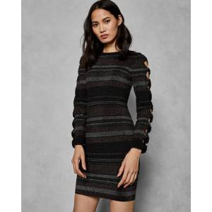 Ted Baker Stripe Bow Detail Dress  - Black - Size:  5 (UK 16)
