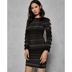 Ted Baker Stripe Bow Detail Dress  - Black - Size:  4 (UK 14)